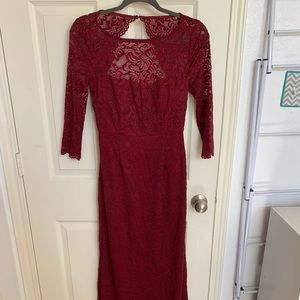Laundry by Shelli Segal Burgundy open back gown.